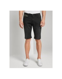 Tom Tailor Josh Regular Slim Jeans Shorts Met Superstretch, Heren, Black Stone Wash Denim, 30 afbeelding