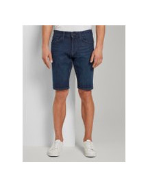 Tom Tailor Josh Regular Slim Jeans Shorts Met Superstretch, Heren, Dark Stone Wash Denim, 40 afbeelding