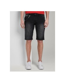 Tom Tailor Sweat Denim Shorts, Heren, Black Stone Wash Denim, 33 afbeelding