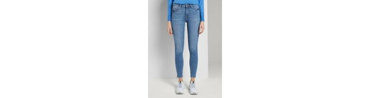 Image Tom Tailor Denim Nela Extra Skinny Jeans Met Split, Dames, Mid Stone Bright Blue Denim, 31