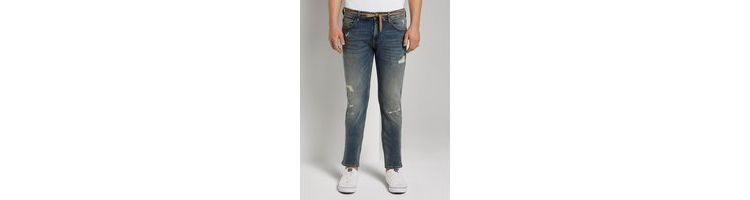 Image Tom Tailor Denim Piers Slim Jeans In Destroyed Look, Destroyed Mid Stone Wash, 33/32