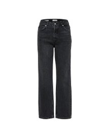 Selected High Waist Straight Fit Jeans Dames Grijs afbeelding