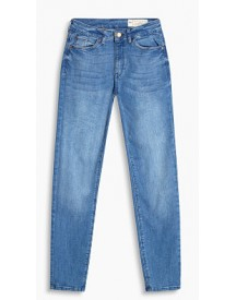 Esprit Cropped High-waisted Stretchjeans Blue Medium Washed For Women afbeelding