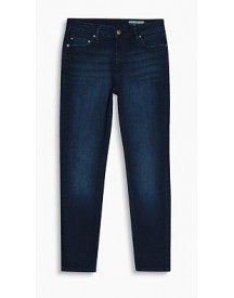 Esprit Cropped Jeans Van Elastisch Denim Blue Dark Washed For Women afbeelding
