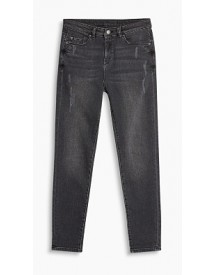 Esprit Cropped Stretchjeans Met Used Effecten Grey Dark Washed For Women afbeelding