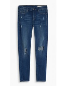 Esprit Lichte Stretchjeans Met Distressed Look Blue Medium Washed For Women afbeelding