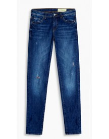 Esprit Stretchjeans Met Destroyed Effect Blue Medium Washed For Women afbeelding