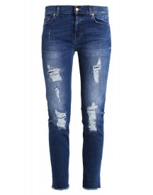 7 For All Mankind Josefina Relaxed Fit Jeans Midnight Blue Distressed afbeelding