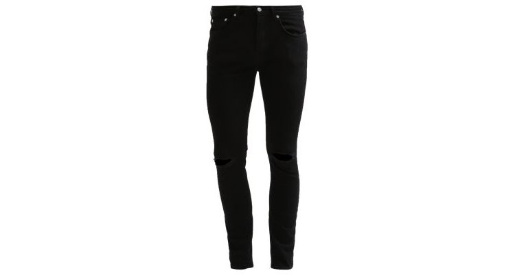 Image Topman Black Ripped Knee Stretch Skinny Fit Jeans Slim Fit Jeans Black
