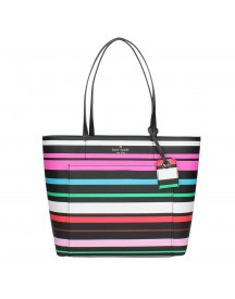 Kate Spade Harding Street Stripe Small Riley Shopper Black Multi afbeelding