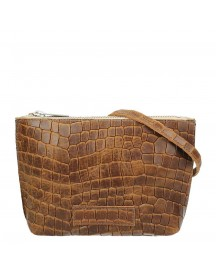 Shabbies Amsterdam Avirex Stampa Alligatore Crossbody Small Caramel afbeelding