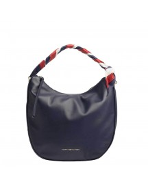 Tommy Hilfiger Women Iconic Foulard Leather Hobo Small Navy afbeelding