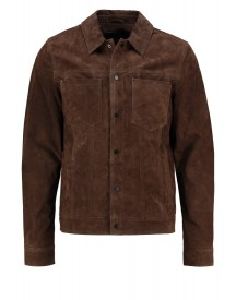 New Look Stanley Leren Jas Dark Brown afbeelding