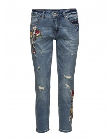 Flower Jeans- Relax Cream Jeans afbeelding