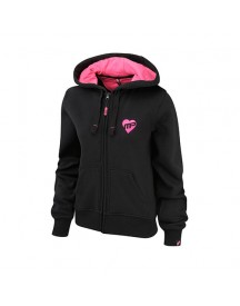 Womens Full Zip Hooded Strong Is The New Sexy Sweat Black-hot Pink afbeelding