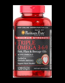 Maximum Strength Triple Omega 3-6-9 Fish, Flax & Borage Oils afbeelding