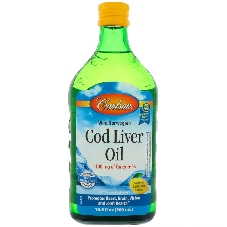 Image Carlson Norwegian Cod Liver Oil - Levertraan Olie 500 Ml Carlson