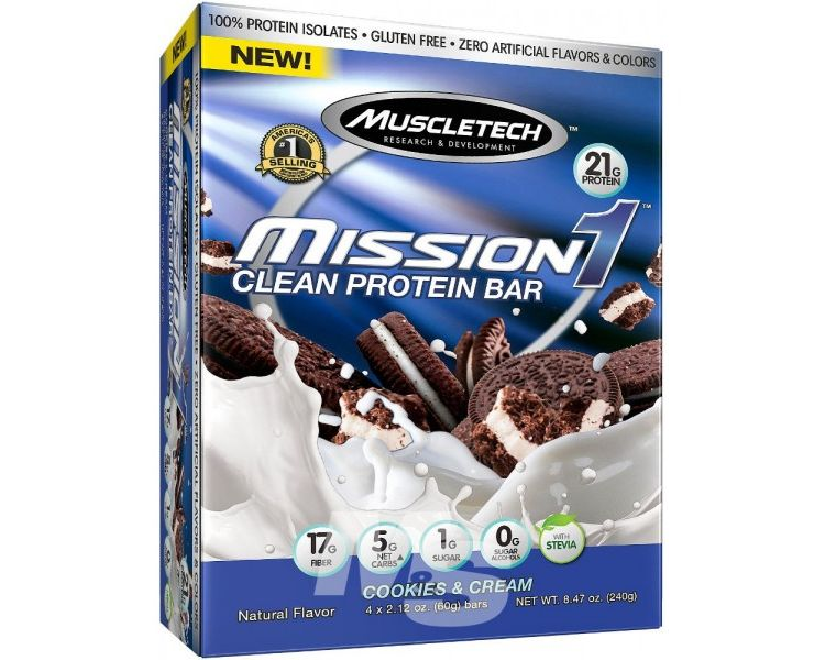 Image Mission1 Clean Protein Bar - Cookies & Cream - 4 Repen - Muscletech