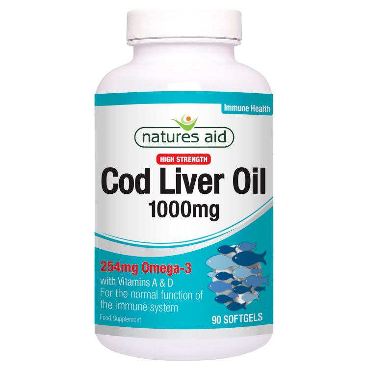 Image Cod Liver Oil (high Strength) 1000mg - Natures Aid - 180 Capsules