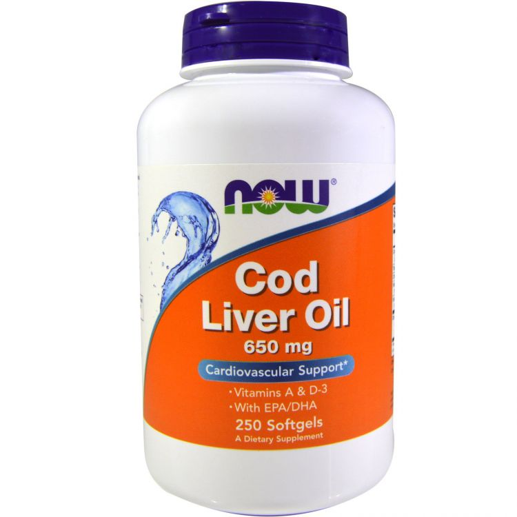 Image Cod Liver Oil, 650 Mg, 250 Softgels - Now