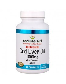 Cod Liver Oil (high Strength) 1000mg - Natures Aid - 90 Capsules afbeelding