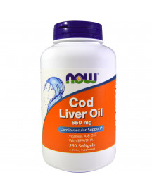 Cod Liver Oil, 650 Mg, 250 Softgels - Now afbeelding