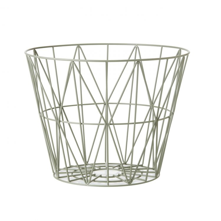 Image Ferm Living Wire Basket Opbergmand Dusty Green Small
