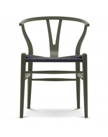 Carl Hansen & Son Ch24 Wishbone Stoel Colours Black Olive Green afbeelding