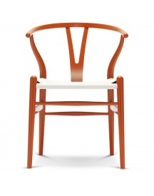 Carl Hansen & Son Ch24 Wishbone Stoel Colours White Orange Red afbeelding