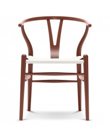 Carl Hansen & Son Ch24 Wishbone Stoel Colours White Red Brown afbeelding