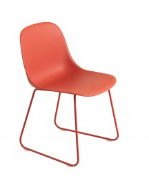 Muuto Fiber Side Sled Stoel Dusty Red afbeelding