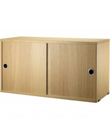 String Cabinet With Sliding Doors 78 X 30 X 42 Cm afbeelding