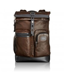 Tumi Alpha Bravo Luke Roll-top Leather Rugzak Dark Brown afbeelding