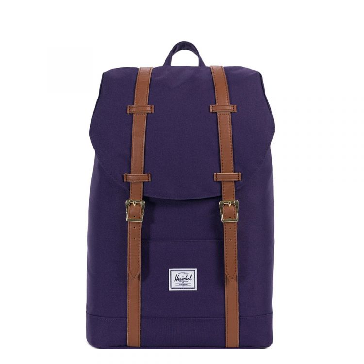 Image Herschel Supply Co. Retreat Mid-volume Rugzak Purple Velvet/tan Synthetic Leather