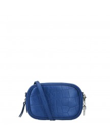 By Loulou Shiny Croco Pouch Dark Blue afbeelding