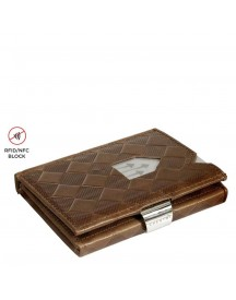 Exentri Leather Wallet Rfid Hazelnut Chess afbeelding