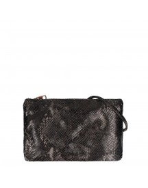 Fred De La Bretoniere Lizard Print Leather Crossbody Envelope Bag Antracite afbeelding