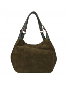 Fred De La Bretoniere Nubuck Leather Shoulderbag Large Dark Green afbeelding