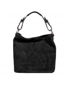 Fred De La Bretoniere Nubuck Leather Shoulderbag Medium Black afbeelding
