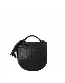 Fred De La Bretoniere Printed Leather Anaconda Crossbody Medium Black afbeelding