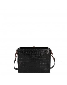 Fred De La Bretoniere Printed Leather Croco Crossbody Medium Black afbeelding