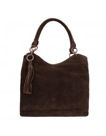 Fred De La Bretoniere Suede Shoulderbag Medium Antracite afbeelding