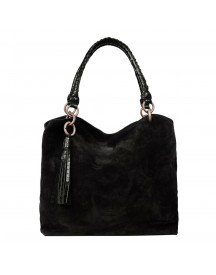 Fred De La Bretoniere Suede Shoulderbag Medium Black afbeelding