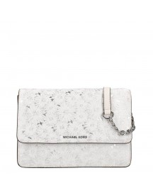 Michael Kors Jade Gusset Clutch Large Optic White / Silver afbeelding
