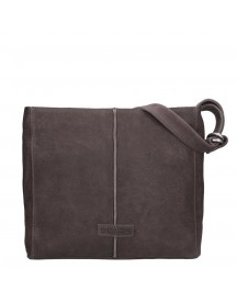 Shabbies Amsterdam Waxed Grain Leather Shoulderbag Medium Dark Brown afbeelding