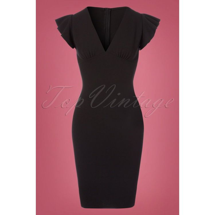 Image 50s Shella Pencil Dress In Black
