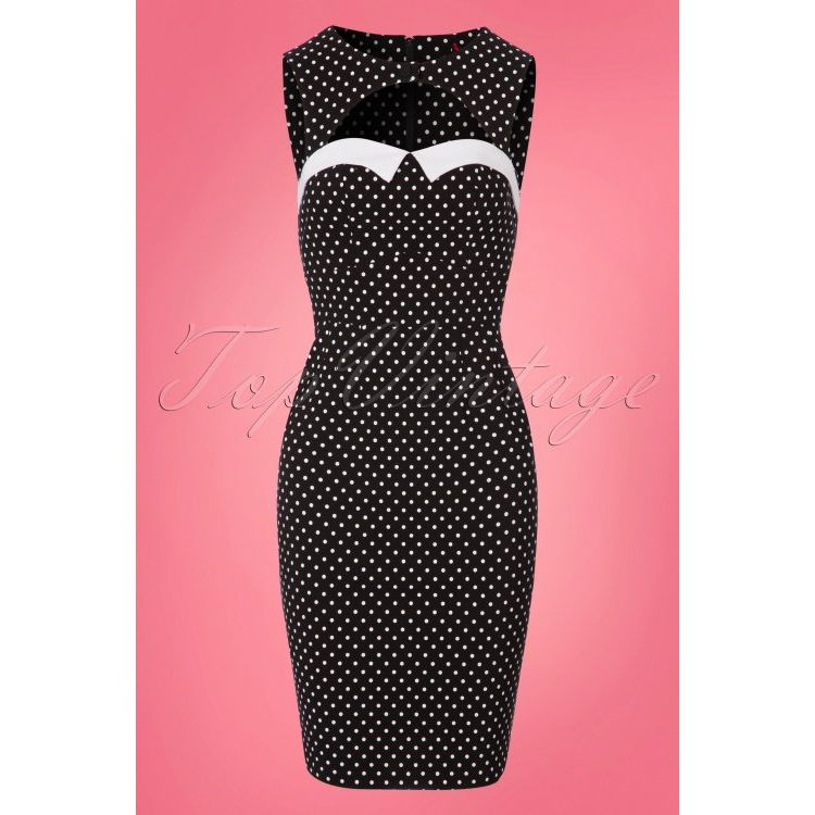 Image 50s Miley Polkadot Pencil Dress In Black