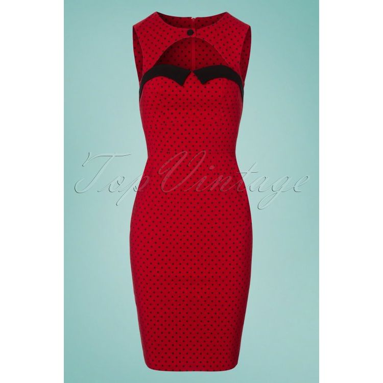 Image 50s Miley Polkadot Pencil Dress In Dark Red