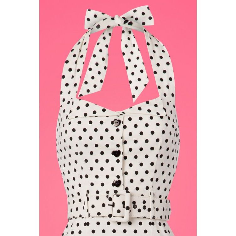 Image 50s Wanda Polkadot Pencil Dress In White And Black