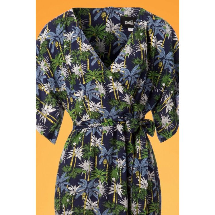 Image 70s Kelly Palm Tree Maxi Dress In Navy